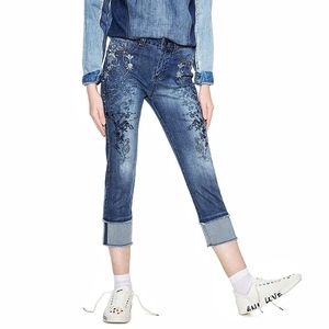 NEW Desigual | Embroidery  Medium Blue Crop Jeans